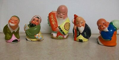 5 Ceramic Chinese Asian Bearded Wise Old Men Hand Painted Figurine Figure Lot