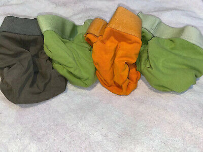 Lot of 4 Medium gdiapers gpants No Pouches Green, Brown, Orange