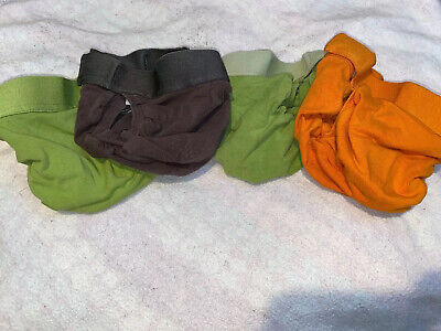 Lot of 4 Medium gdiapers gpants No Pouches Green, Dark Brown, Orange