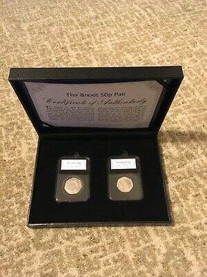 BREXIT 50p FIFTY PENCE COIN PAIR 2020 & 1973 OFFICIAL LIMITED EDITION BOXED SET
