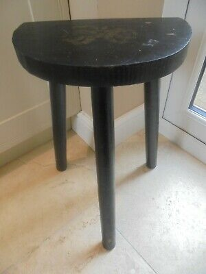 Vintage French 3 legged black painted kitchen stool, half moon seat, semi circle