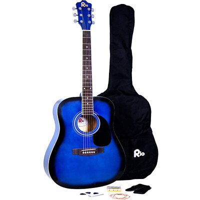 Rio Blue 4/4 Full Size 41'' Acoustic Guitar Package Pack Outfit Beginner Steel -