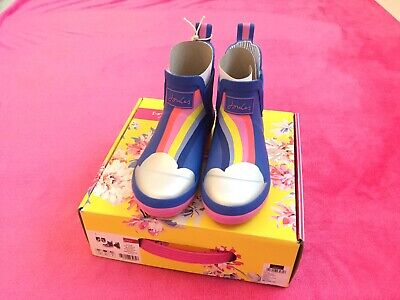 Joules Girls Wellies Size 13 Blue Rainbow Junior Wellibobs Brand New In Box! 🌈