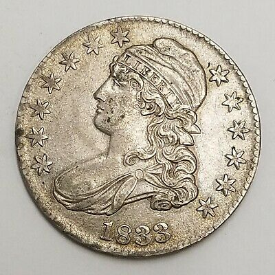 1833 P CAPPED BUST HALF DOLLAR 50c US COIN PHILADELPHIA MINT   AA16