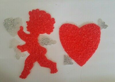 Vintage Popcorn Plastic Cupid and Heart - Valentines Day Lot Cherub