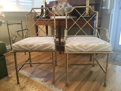 SUPERB Pair Faux Bamboo Chinese Chippendale Gilt Iron Arm Chairs
