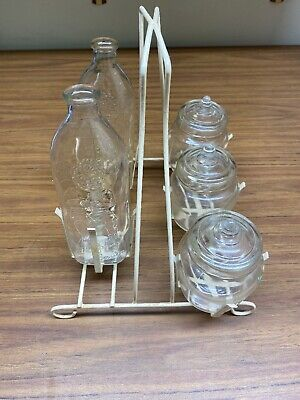 "Two Vintage ""Happy Baby"" Clear Glass Bottles, 8 Oz, With 3 Jars Feeding Set"