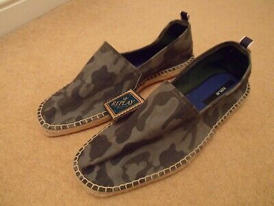 New Replay Grey Camouflage Espadrilles Slip On Casual Loafer Shoes Uk 10 Eu 44