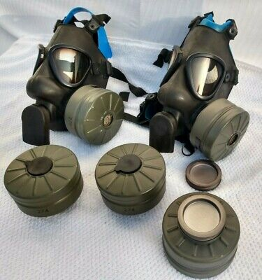 2 New NATO Finnish M9 style Military Gas Mask & Several expired 60mm Filters