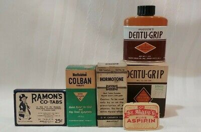 Vintage Pharmacy -lot of 5-Ramons, Hormotone, St. Marys, Menth Colban & Dentu