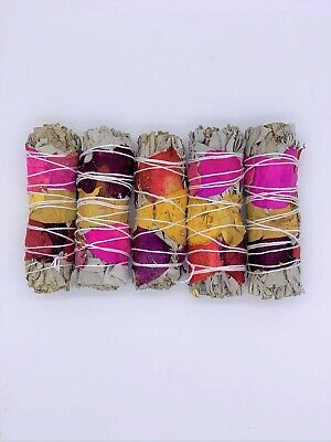"5X California White Sage Smudge Sticks with Rose Petals 4"" Negativity Removal"