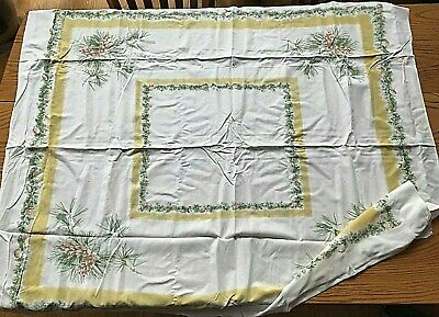 "Vintage Christmas ""Pinecones"" Tablecloth, Topper 50x43"