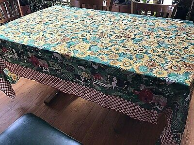 """Large Tablecloth Farm Cow Pig Chicken Rooster Red Check Sunflower 101"""" x 60"""""""