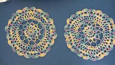 Hand Crocheted Doily Variegated  spring Easter colors (2)