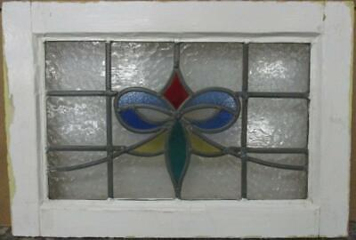 "OLD ENGLISH LEADED STAINED GLASS WINDOW Gorgeous Colorful Bow Design 20.5"" x 14"""