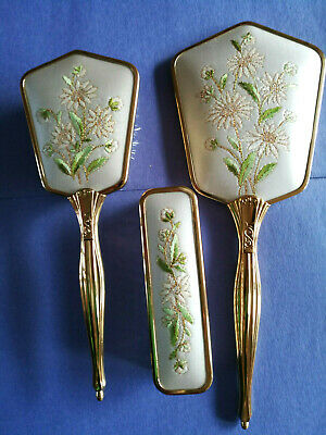 Brush New Set & Hand Mirror Vanity Gilt Silver Plated Lacquered Floral Pattern