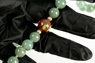 10 K Gold Antique Jade And Cloisonne  Necklace