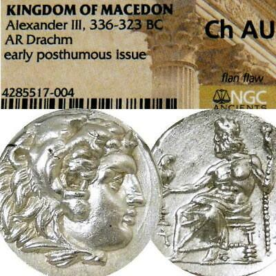 ALEXANDER the Great NGC Choice AU RARE ZEUS type Ancient Silver Coin Herakles Z