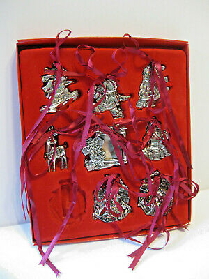 New Vtg 9 Silver Plate Gorham Christmas Ornaments w Ribbons Photo Frame Angels