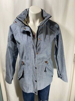 Levi Strauss Womens Zip Up Hooded Rain Jacket Blue Sz XS Rain Coat Hiking Pocket
