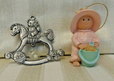 Set of 2 Baby Christmas Ornaments, Metal Rocking Horse and Baby at the Beach
