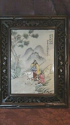 Antique Chinese Porcelain Hand Painted Plaque In Rosewood Ornate Frame,Signed.