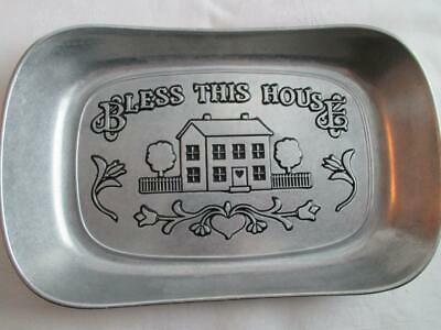 "Wilton Armetale ""Bless This House"" PEWTER BREAD PLATE~Serving Tray"