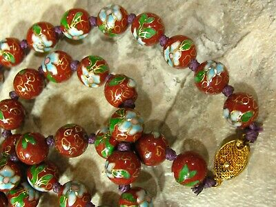 Antique Deco Chinese Cloisonne Beads Gold Blue Green Cinnabar Brown Necklace 24""
