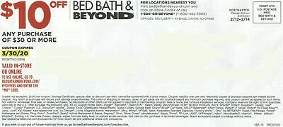 Bed Bath Beyond $10 off $30 or more purchase In-Store or Online Exp. 3/30/2020
