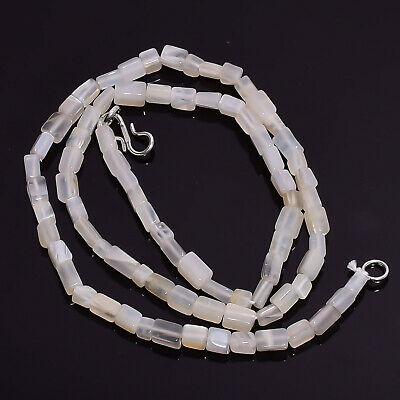 """Natural White Moonstone Gemstone Radiant Smooth Beads Necklace 17"""" BN-85"""