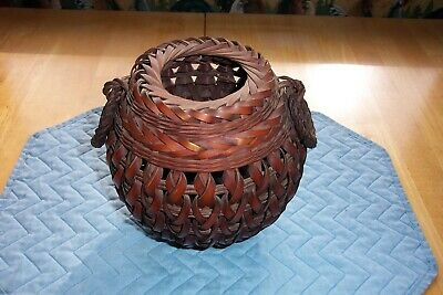 Vintage Asian Hand Woven Bamboo Basket--Small With Round Handles