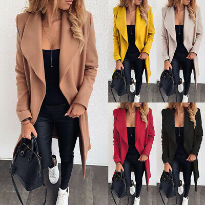 Womens Waterfall Neck Cardigan Blazer Long Coats Ladies Outwear Fashion Jackets