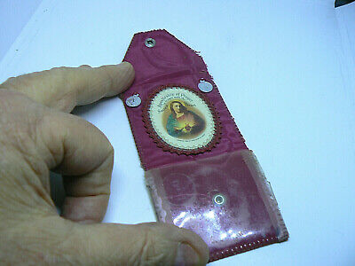 Old Antique Sacred Heart Of Jesus Badge And Medals Pocket / Purse Snap Case