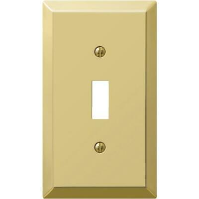 Amerelle 1-Gang Stamped Steel Toggle Switch Wall Plate, Polished Brass 163TBR  -