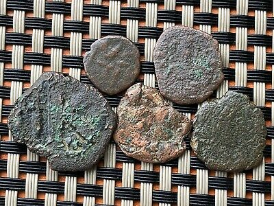 Lot Of 5 Ancient Byzantine Medieval Bronze Coins