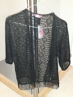 BNWT Primark Young dimension black lace festival cardigan age 12_13