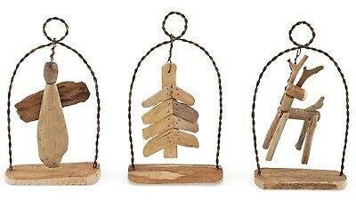 Mud Pie Angel Tree and Reindeer Natural Driftwood Holiday Ornaments Set of 3