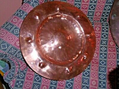 Hand beaten Arts & Crafts 15in copper dish with 8 dimples & 1 in the middle