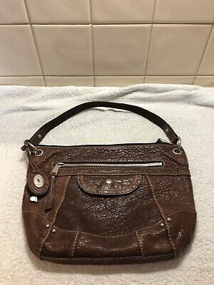 Fossil ladies brown leather bucket bag.