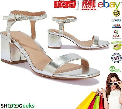 Womens Ladies Low Mid Block Heel Ankle Strap Buckle Party Strappy Sandals