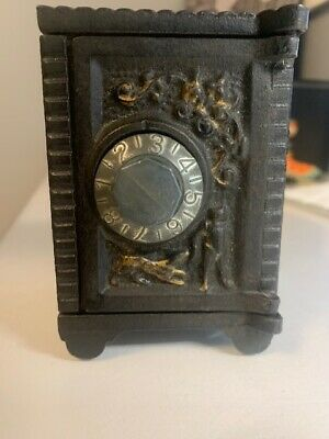 Vintage Black Metal Footed Toy Safe Bank Opens by Turning Dial