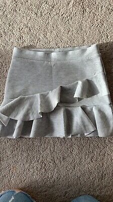 Girls Zara Grey Frill Skirt Age 8 Years Elasticated Waist