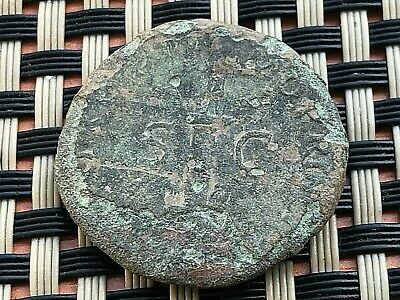 "Bronze Coin Of Trajan 97-117Ad Ae Dupondius ""Trajan's Column"" Ancient Roman Coin"