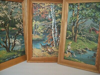 Paint by Number 3 Picture PBN Swan Bird Boy Fishing  Covered Bridge finished vtg