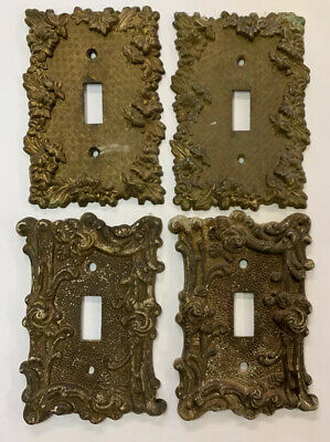 Antique Vtg Brass American Tack & Howe 1967 Single Light Switch Cover Lot Of 4