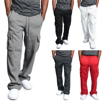 Mens Elasticated Cargo Combat lightweight Cotton Work Trousers Jogging Tracksuit