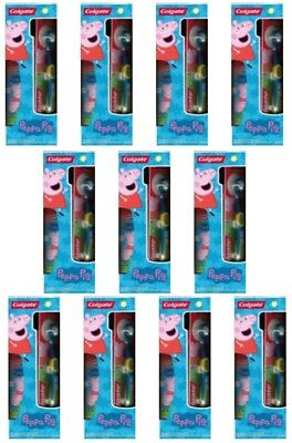Peppa Pig Lot of 11 Colgate Sets 2 Manual Toothbrushes & Bubble Fruit Toothpaste