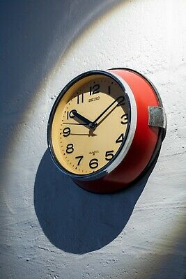 Vintage Seiko Ship's Wall Clock - Marine Salvage - Red