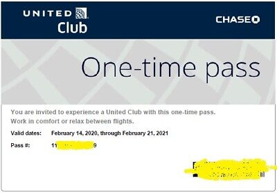 2 Passes for United Club One Time Pass EXP 02/21/2021 E-pass available