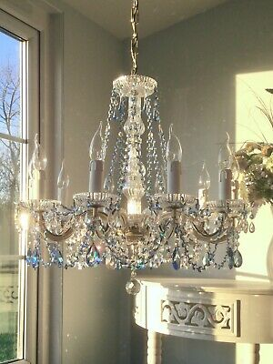 ✨Large✨Stunning all glass with clear & blue crystal 10 light Vintage Chandelier✨